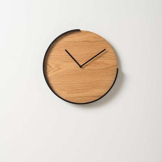 Citta Segment Clock Oak/Black  35.5Diax4Cmh
