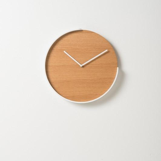 Citta Segment Clock Oak/White  35.5Diax4Cmh