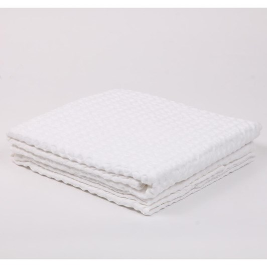 Citta Cialda Washed Waffle Pillowcase Pair White