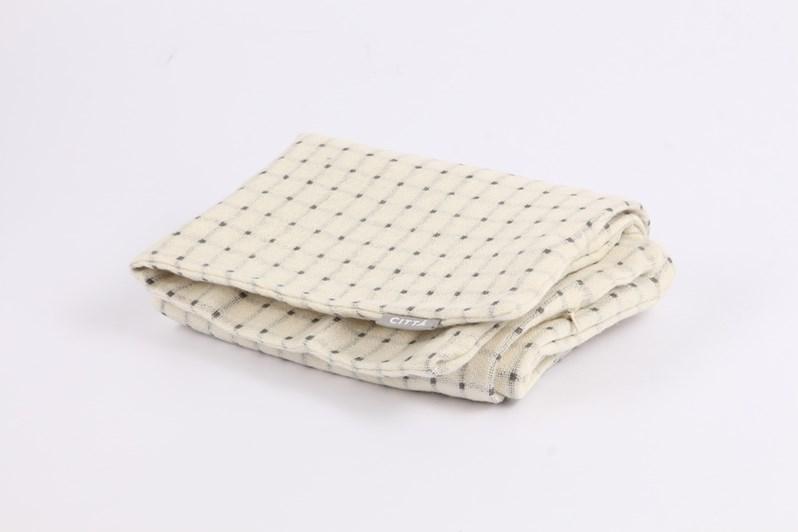 Citta Grid Woollen/Linen Cushion Cover - Ecru/Charcoal
