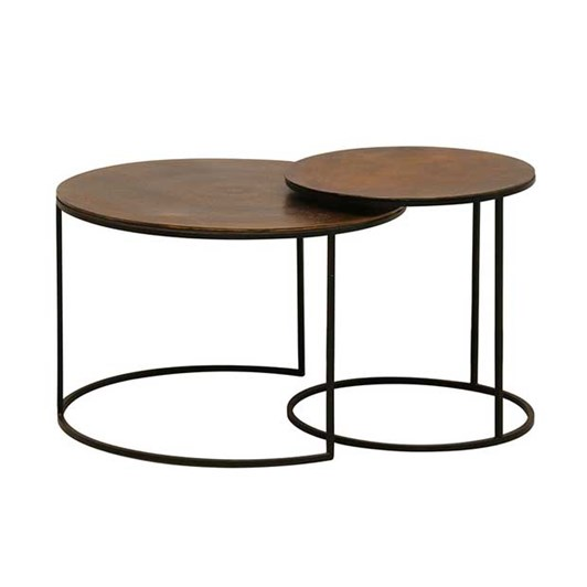 CC Interiors Nested Round Side Tables In Vintage Brass Finish