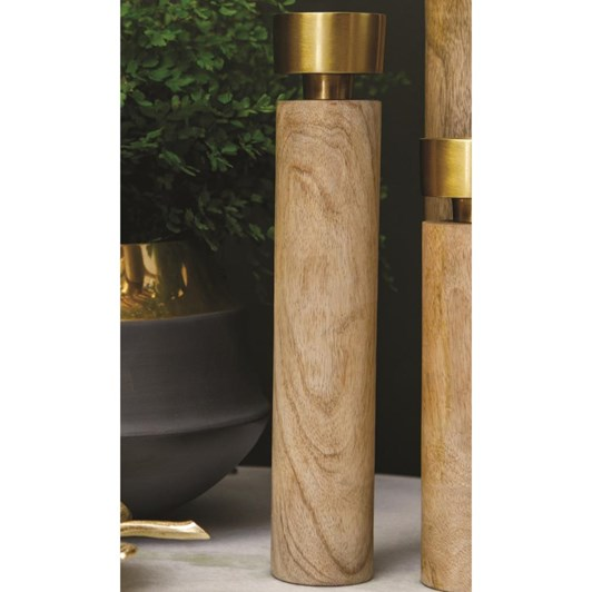 J & K Candle Holder Timber Brass Medium