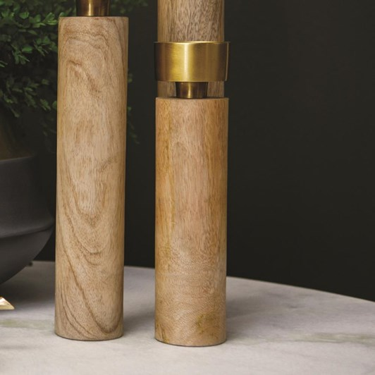 J & K Candle Holder Timber Brass Small