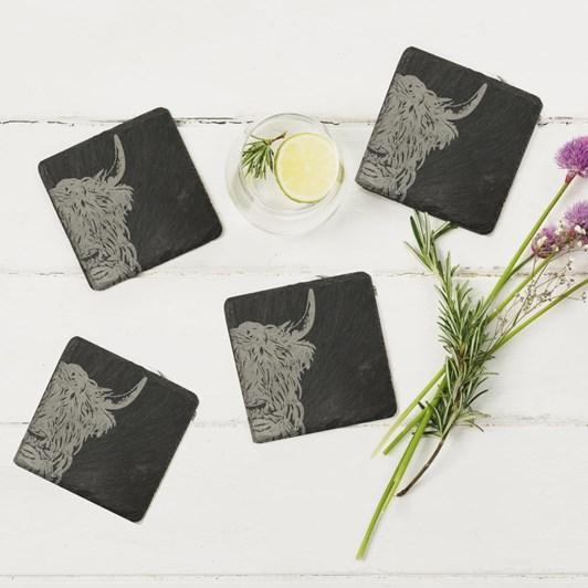 Just Slate Highland Cow Coasters X 4
