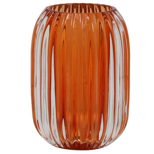 Light & Living Tealight 9,5X13 Cm Pertu Clear Glass+Dark Orange