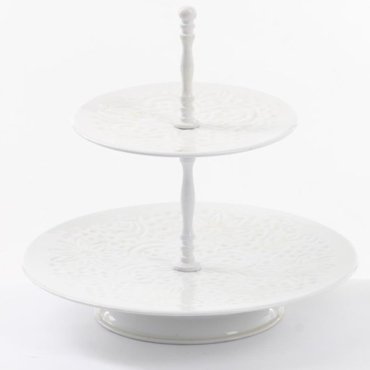 Ivory House Wash 2 Tiered Tray 29H - White