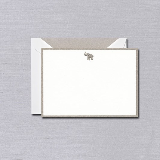 Crane & Co Engraved Elephant Bordered Notecards, 10 Cards & Envelopes