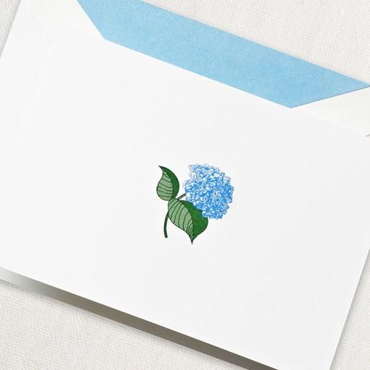 Crane & Co Engraved Blue Hydrangea Notecards, 15 Cards & Envelopes