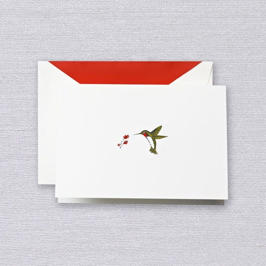 Crane & Co Engraved Hummingbird Notecards, 15 Cards & Envelopes