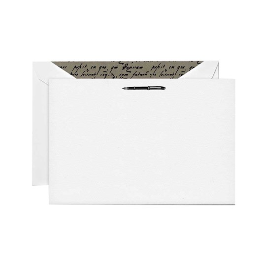 Crane & Co Engraved Fountain Pen Notecards, 10 Cards & Envelopes