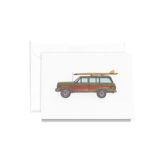 Crane & Co Vintage Jeep With Surfboard Notecards Set