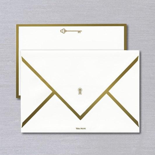 Vera Wang Engraved Key & Lock Gold Bordered Cards & Envelopes, 10