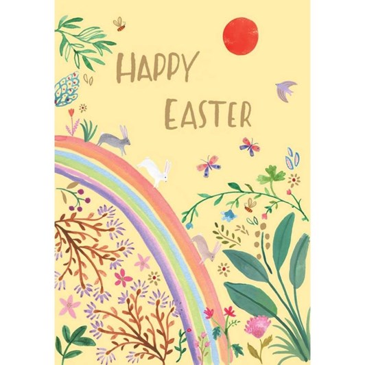 Rabbits On Rainbow Easter Card