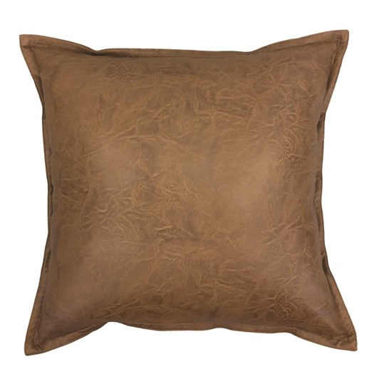 Madras Link Boston Leather Look Cushion Tan 50cm