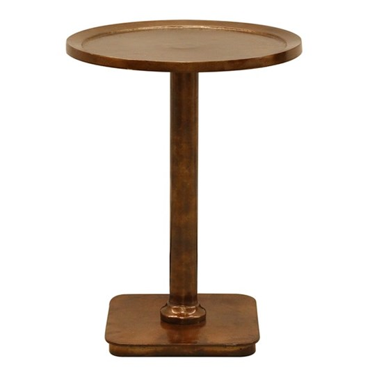 CC Interiors Round Side Table In Antiqued Brass Finish