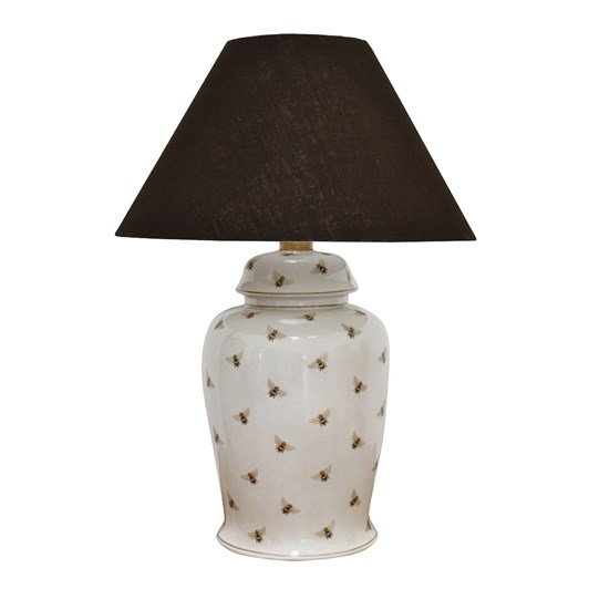 CC Interiors Bee Crackled Lamp With Black Lampshade 51cm
