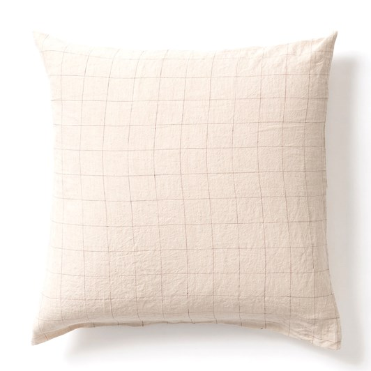 Citta Grid Linen Euro Pillowcase Natural/Raisin 65x65cm