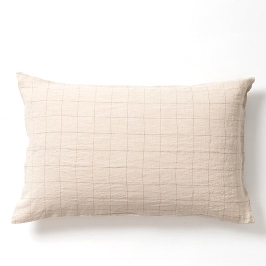 Citta Grid Linen Pillowcase Pr Natural/Raisin 76x50cm