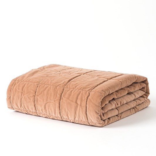 Citta Washed Velvet Square Stitch Quilted Throw Pecan 130x180cm