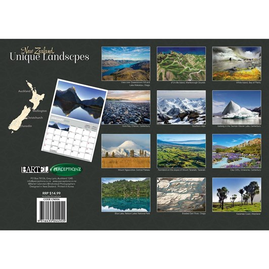 Unique Landscapes Of NZ Calendar2020 340x242mm