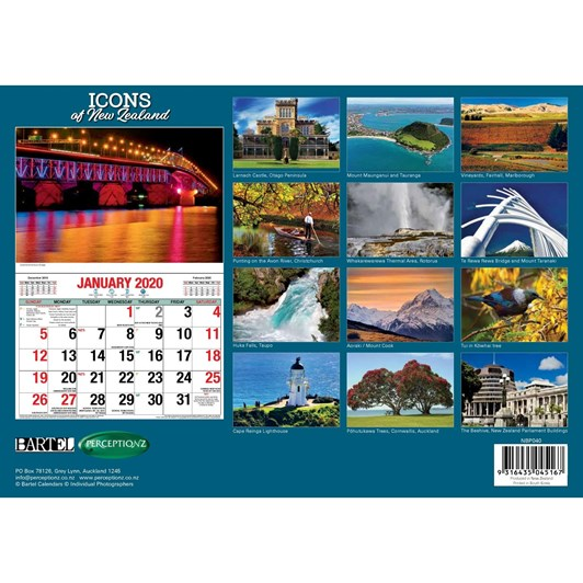 Icons Of NZ Calendar 2020 304x215mm