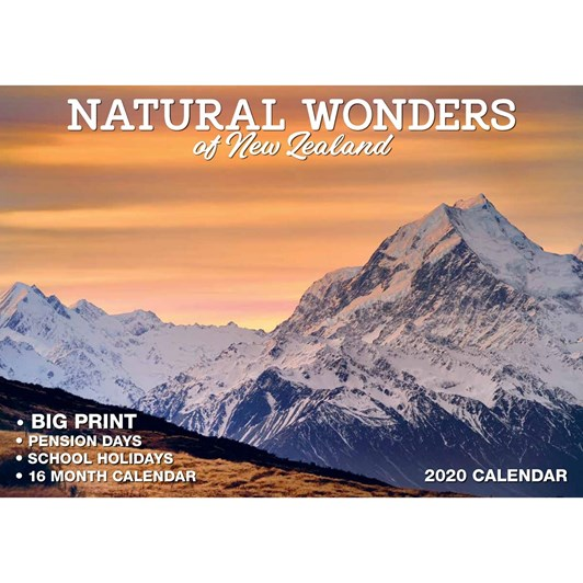 Natural Wonders Of NZ Calendar 2020 304x215mm