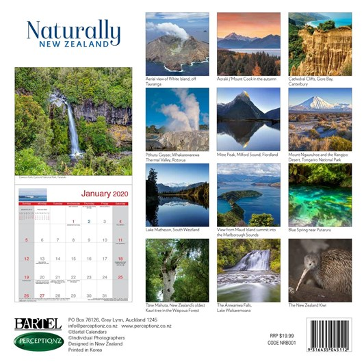 Naturally NZ Calendar 2020 300x300mm