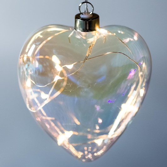 Stellar Haus Clear Pearl Heart Hanging Glass Light Silver Warm White 15cm