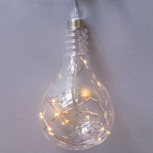 Stellar Haus Clear Light Bulb Hanging Glass Light Copper Warm White