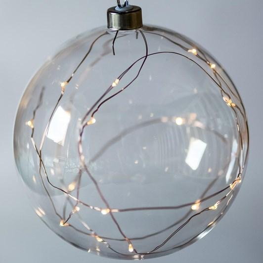 Stellar Haus Clear Medium Sphere Hanging Glass Light Copper Warm White 15cm