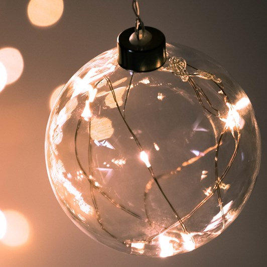 Stellar Haus Clear Small Sphere Hanging Glass Light Copper Warm White 10cm