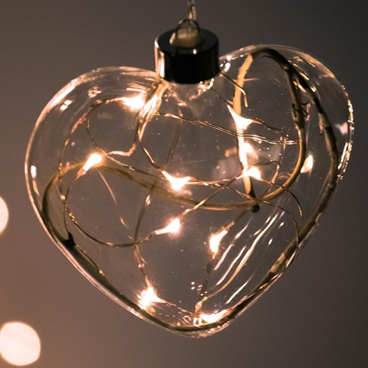 Stellar Haus Clear Small Winter Heart Hanging Glass Copper Warm White 10cm