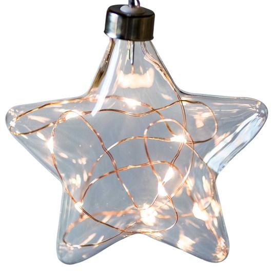 Stellar Haus Clear Star Hanging Glass Light Copper Warm White 12cm