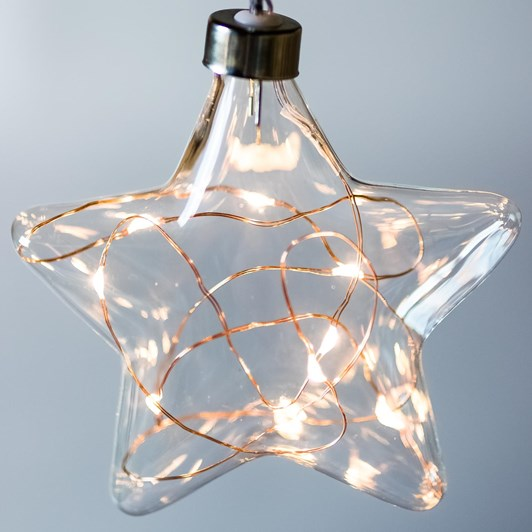 Stellar Haus Clear Star Hanging Glass Light Copper Warm White