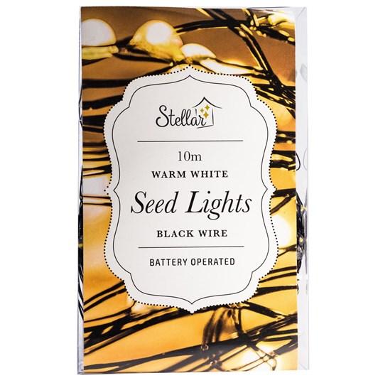 Stellar Haus 100 LED Seed Light String 10m Black Warm White AA