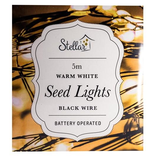 Stellar Haus 50 LED Wire Seed Lights 5m AA Black Warm White
