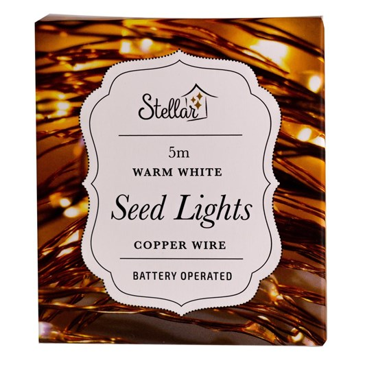 Stellar Haus 50 LED Seed Lights 5m AA Copper Warm White