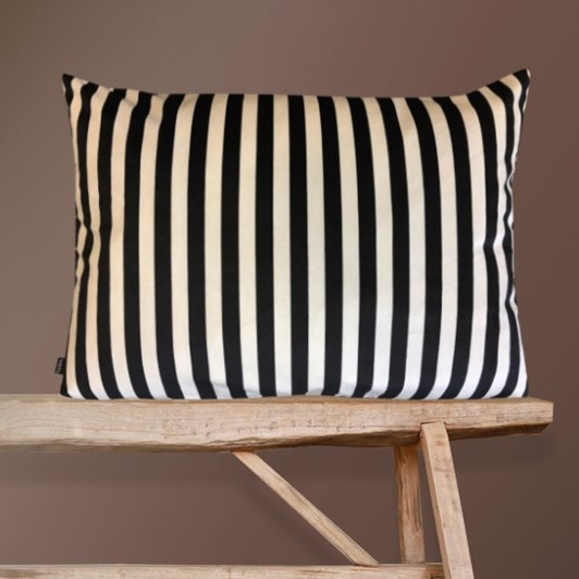 Vanilla Fly Cushion Black Creme Stripe 40X80Cm