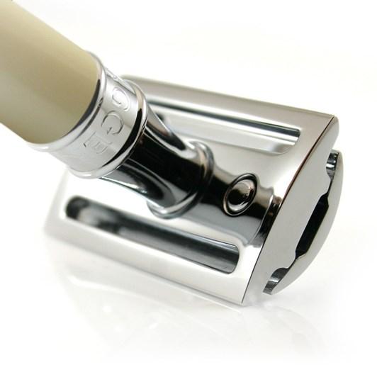 Edwin Jagger Double Edge Safety Razor, Imitation Ivory, Chrome Plated, 1 X