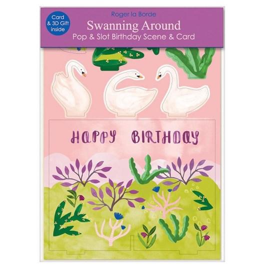 Roger La Borde Swanning Around Birthday 3D Card