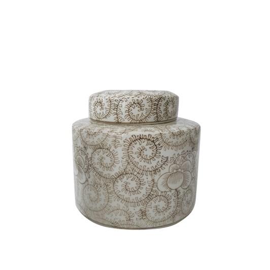 Small Teajar Camel & White Scrolls 18Hx19D
