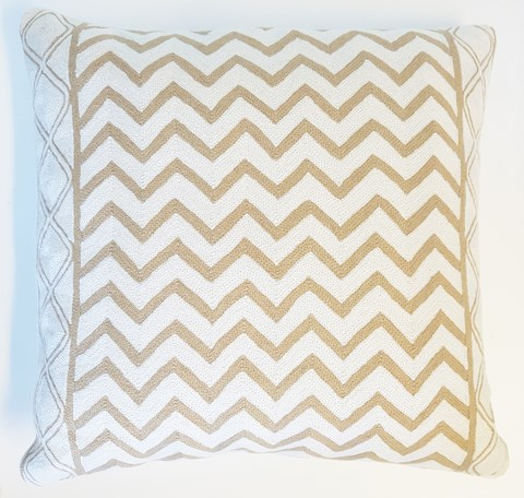 Beige/White Waves Cushion With Feather Inner 60x60