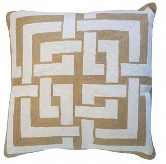 Mehdeeb Beige/White Interlocking Cushion With Feather Inner 60x60