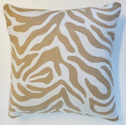 Beige/White Zebra Cushion With Feather Inner 60x60