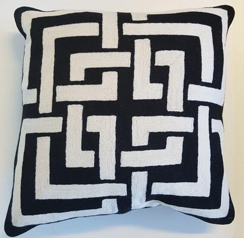 Black/White Interlocking Cushion With Feather Inner 60x60