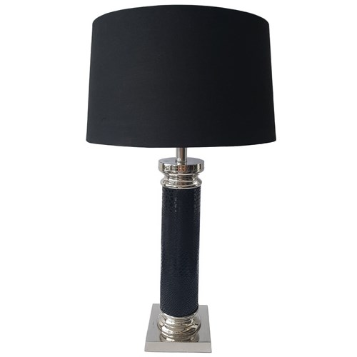 Nickle Plated Black Column Table Lamp W/Shade 15Dx53H