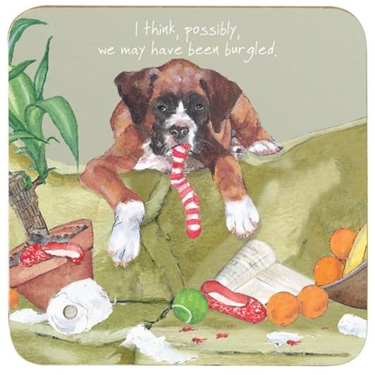 Little Dog Laughed Burgled Coaster
