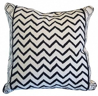 Black/White Waves Cushion With Feather Inner 60x60