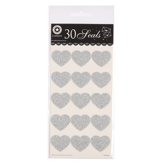 Glitter Silver Heart Stickers Seals