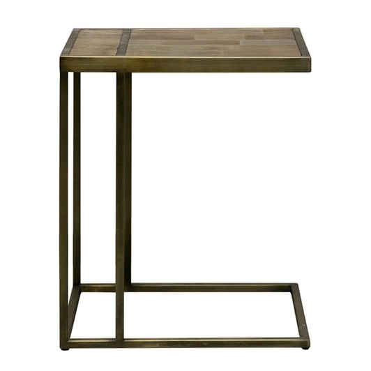 CC Interiors Elm Top Sofa Table With Metal Base In Black Copper Finish